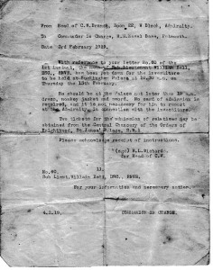 Letter from Admiralty